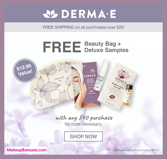 Receive a free 4-pc gift with $40 Derma E purchase