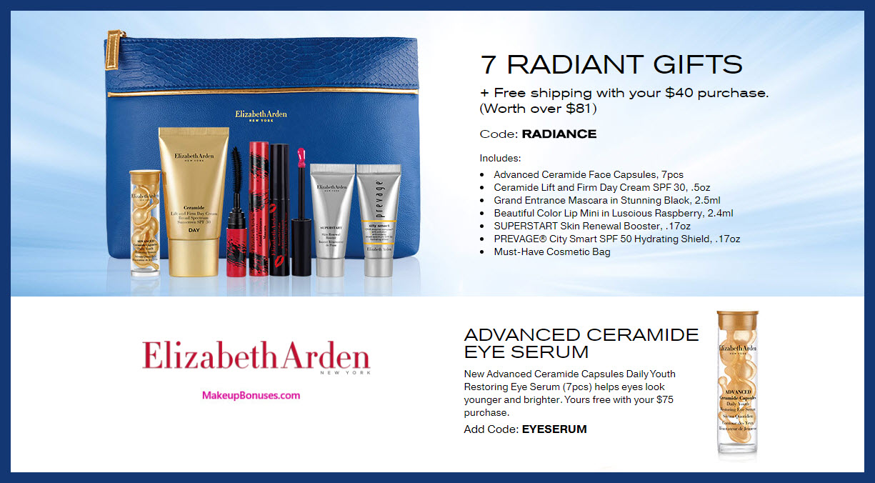Receive a free 7-pc gift with $40 Elizabeth Arden purchase