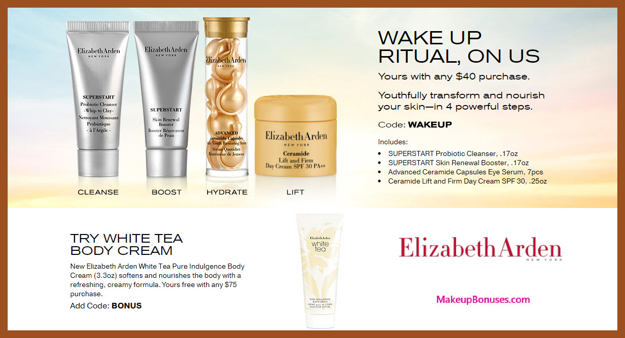Receive a free 4-pc gift with $40 Elizabeth Arden purchase
