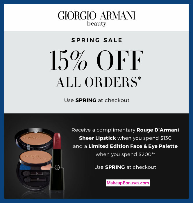 Receive a free 5-pc gift with $200 Giorgio Armani purchase