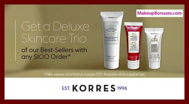 Receive a free 3-pc gift with $100 Korres purchase