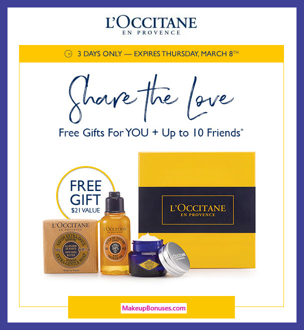 Receive a free 3-pc gift with $5 L'Occitane purchase