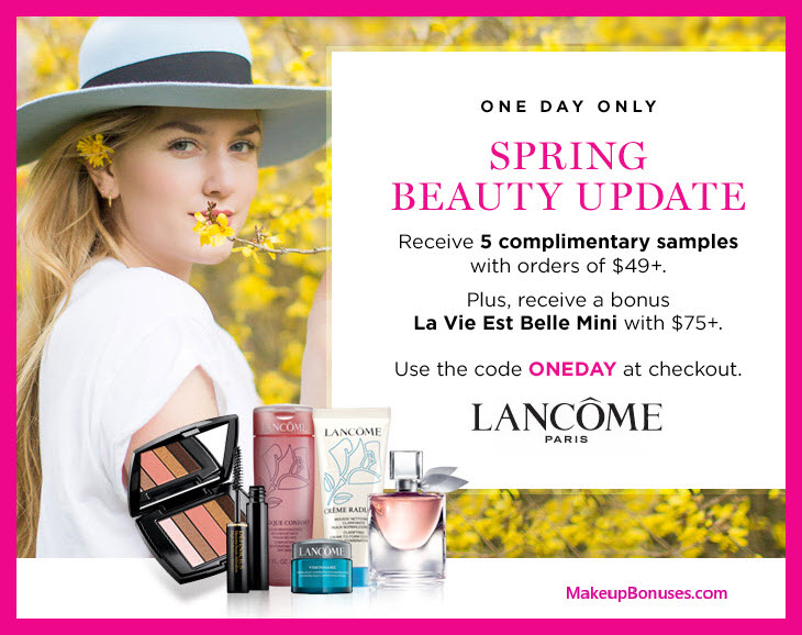 Receive a free 6-pc gift with $75 Lancôme purchase