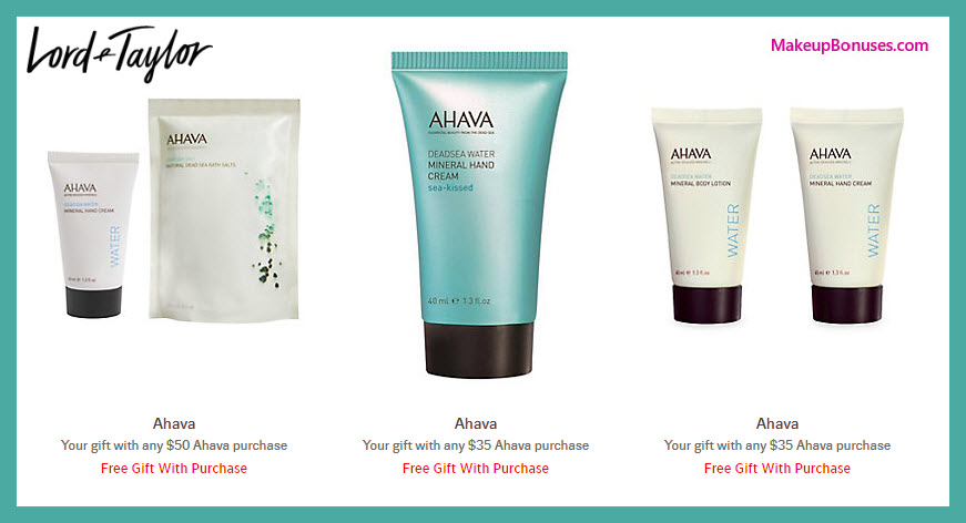 Receive a free 3-pc gift with $35 AHAVA purchase