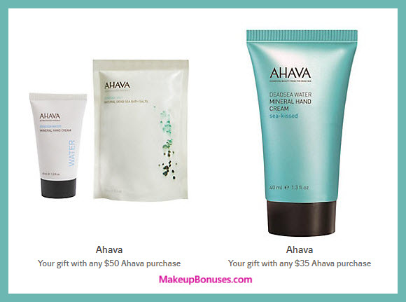 Receive a free 3-pc gift with $50 AHAVA purchase