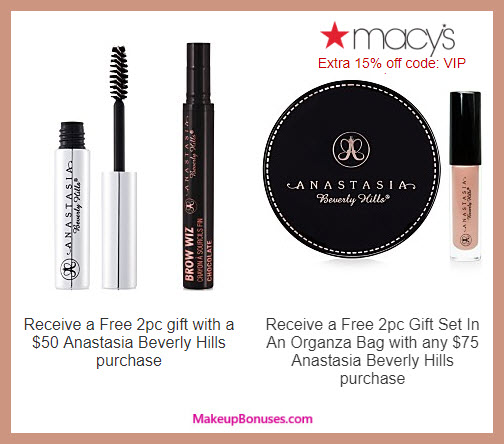 Receive a free 4-pc gift with $75 Anastasia Beverly Hills purchase