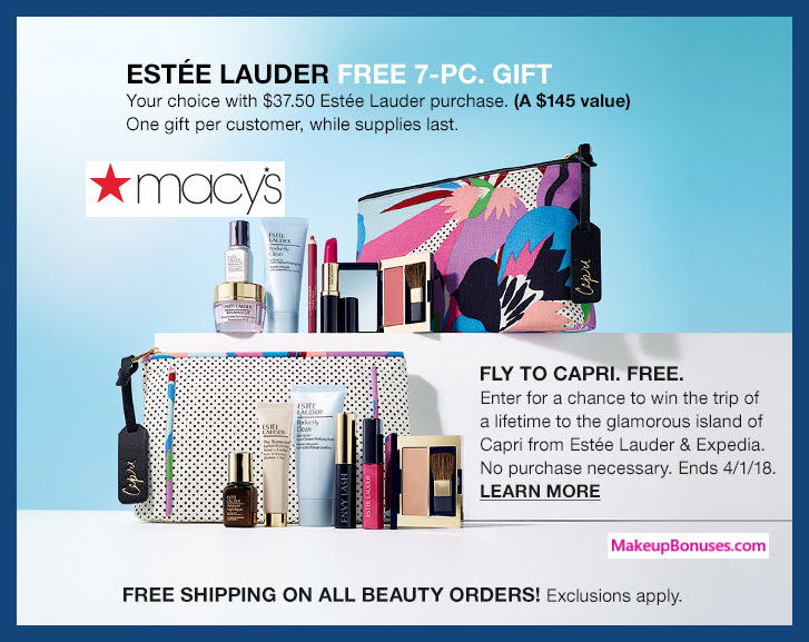 Receive your choice of 10-pc gift with $75 Estée Lauder purchase