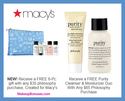 Receive a free 6-pc gift with $35 philosophy purchase