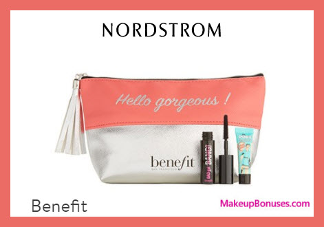 Receive a free 3-pc gift with $60 Benefit Cosmetics purchase