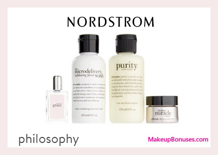 Receive a free 4-pc gift with $60 Philosophy purchase