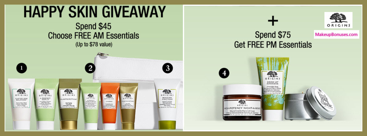 Receive your choice of 4-pc gift with $45 Origins purchase
