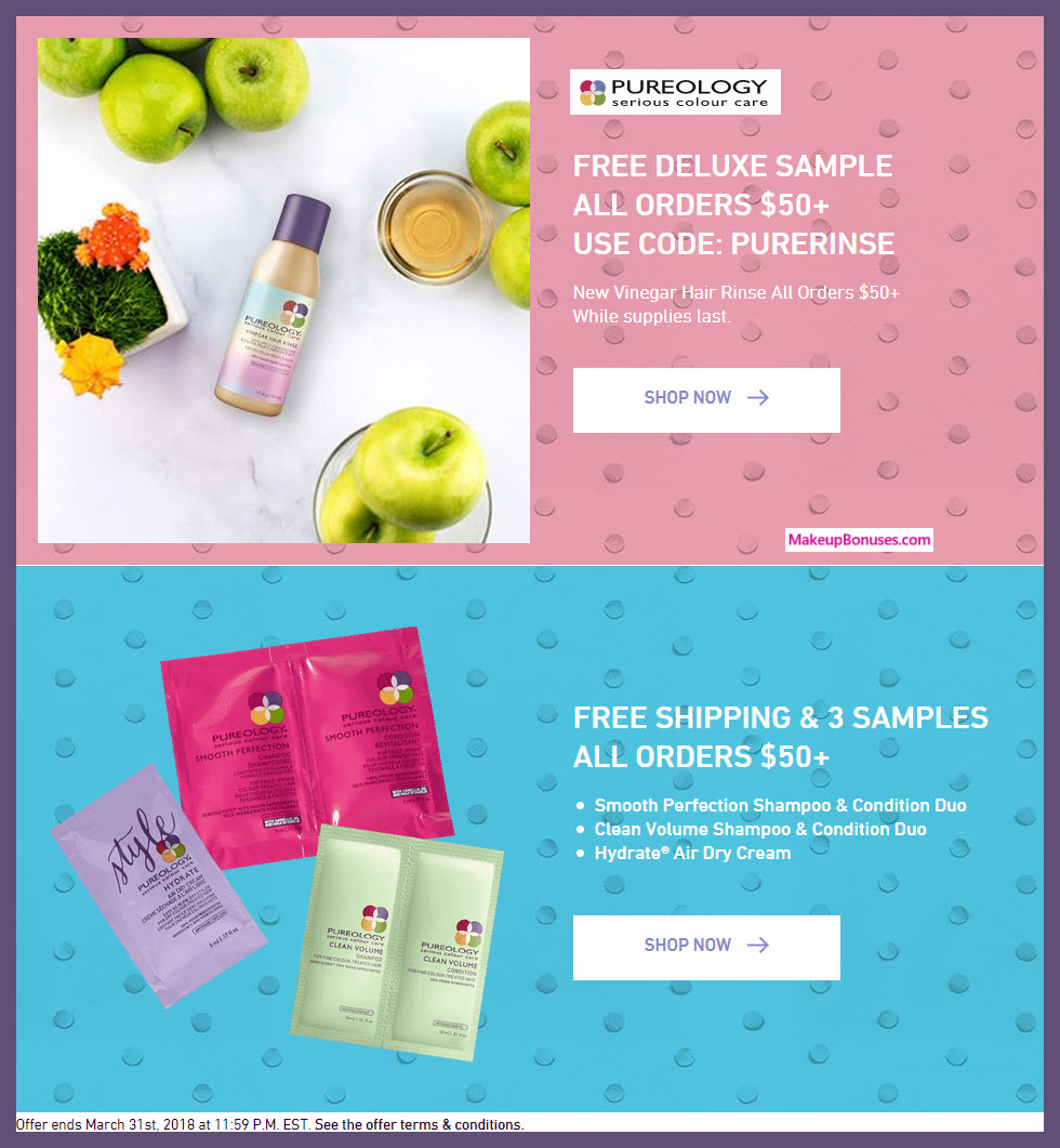 Receive a free 4-pc gift with $50 Pureology purchase