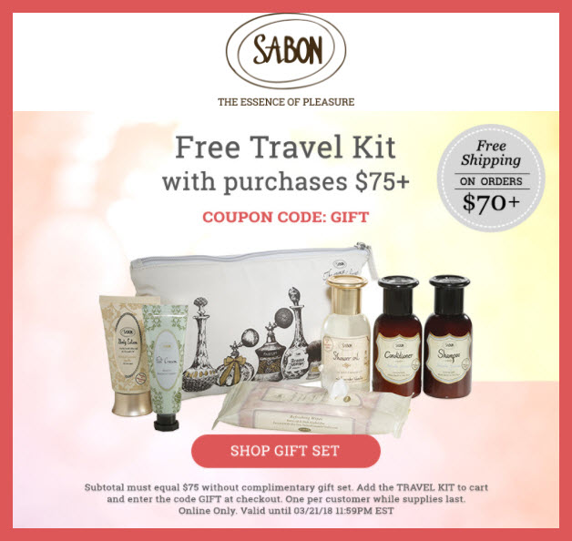 Receive a free 7-pc gift with $75 Sabon NYC purchase