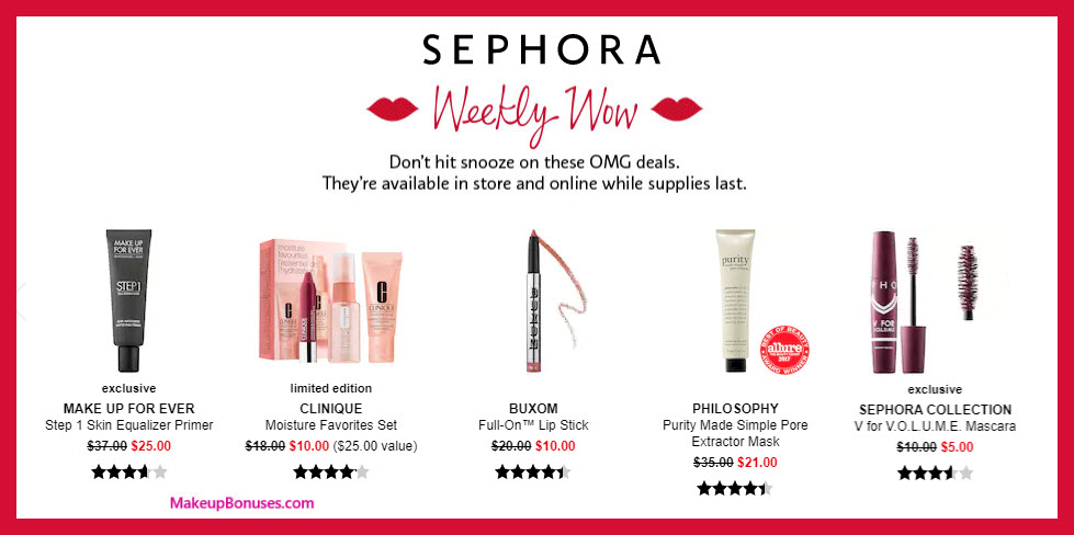 Sephora Weekly Wow - MakeupBonuses.com