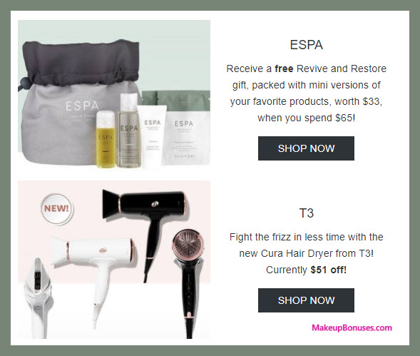 Receive a free 4-pc gift with $65 ESPA purchase