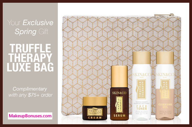 Receive a free 5-pc gift with $75 Skin and Co Roma purchase