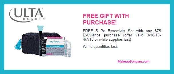 Receive a free 5-pc gift with $75 Exuviance purchase