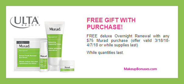 Receive a free 4-pc gift with $75 Murad purchase
