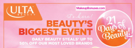 Ulta 21 Days of Beauty - MakeupBonuses.com