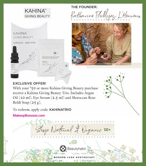 Receive a free 3-pc gift with $50 Kahina Giving Beauty purchase