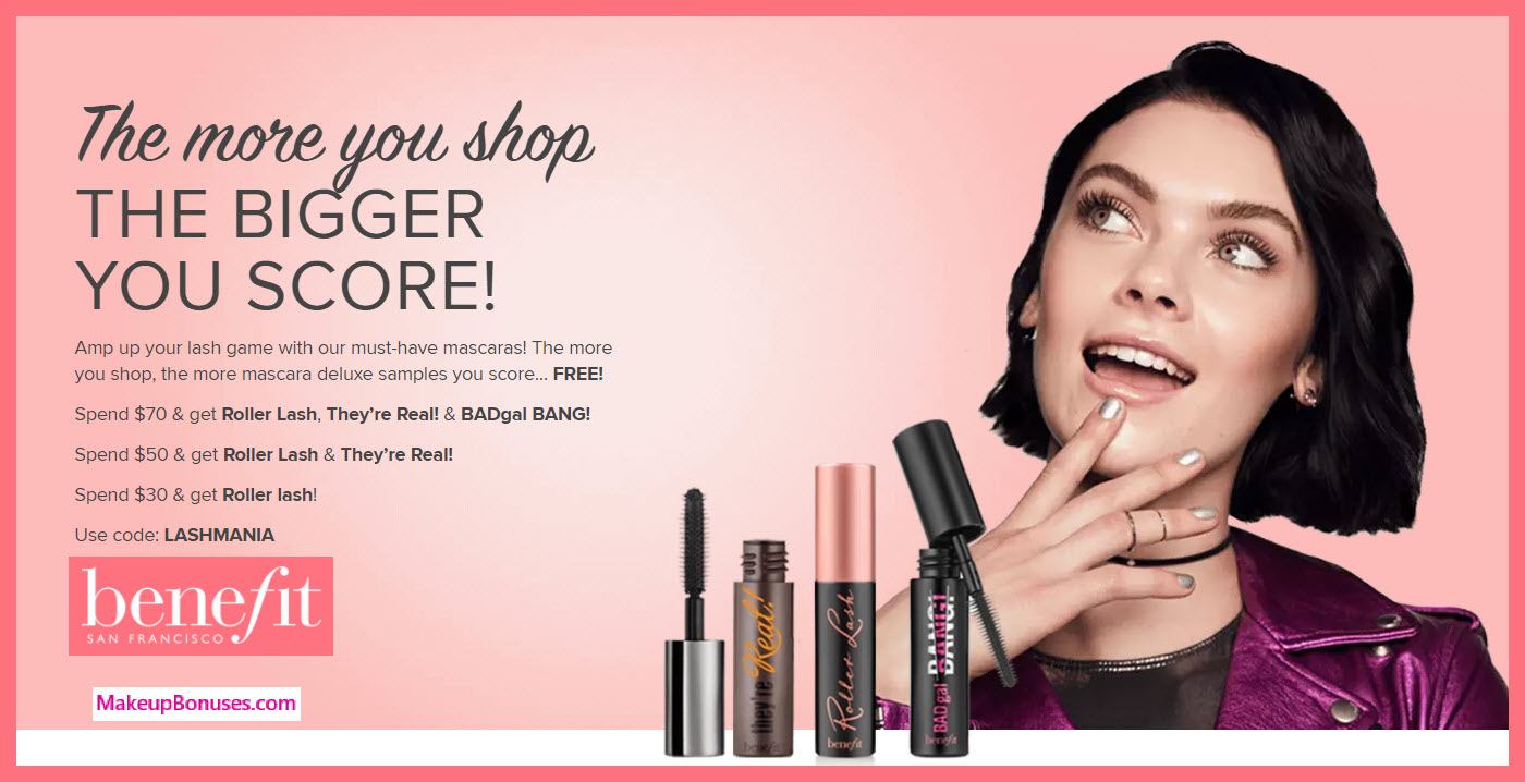 Receive a free 3-pc gift with $70 Benefit Cosmetics purchase