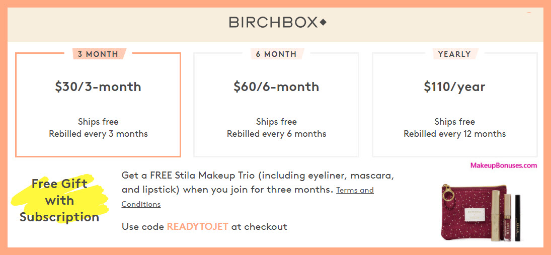 Receive a free 4-pc gift with 3- month subscription ($30) purchase