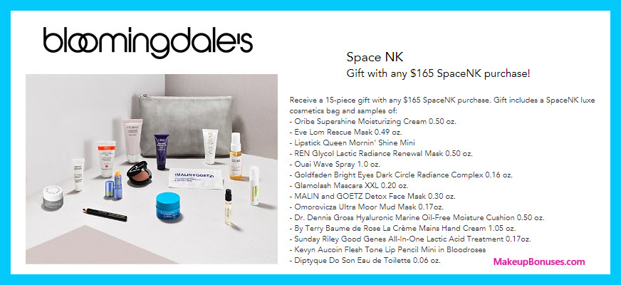 Receive a free 15-pc gift with $165 Space NK purchase