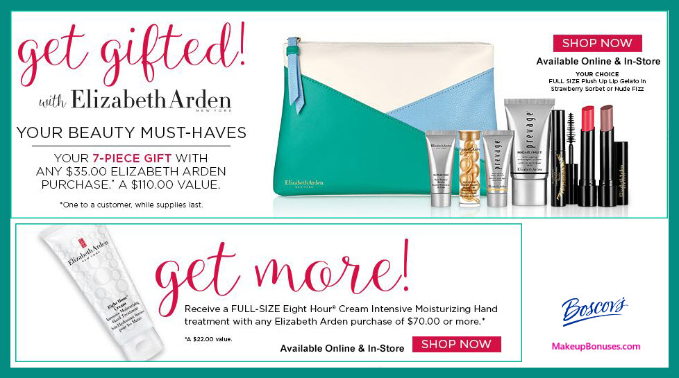 Receive a free 8-pc gift with $70 Elizabeth Arden purchase