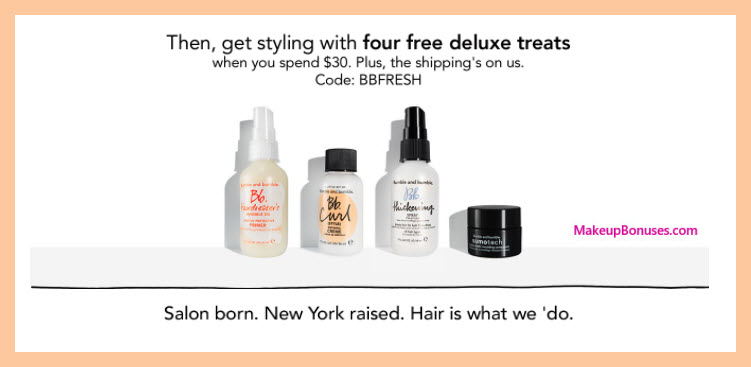 Receive a free 4-pc gift with $30 Bumble and bumble purchase