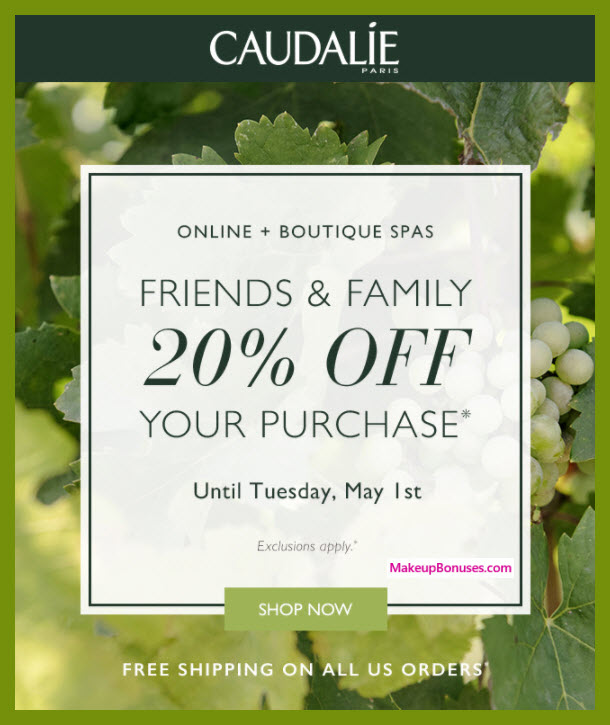 Caudalie Friends & Family - MakeupBonuses.com