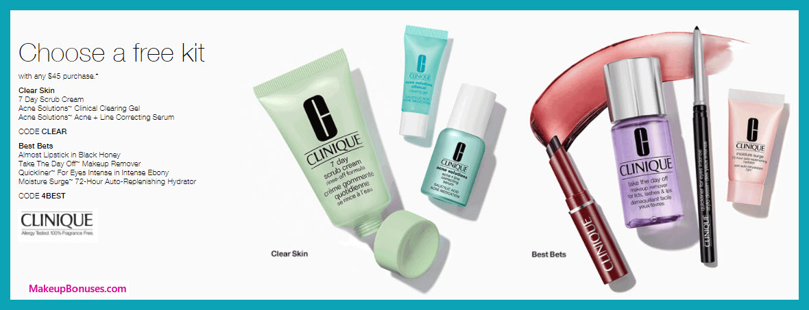 Receive a free 3-pc gift with $45 Clinique purchase