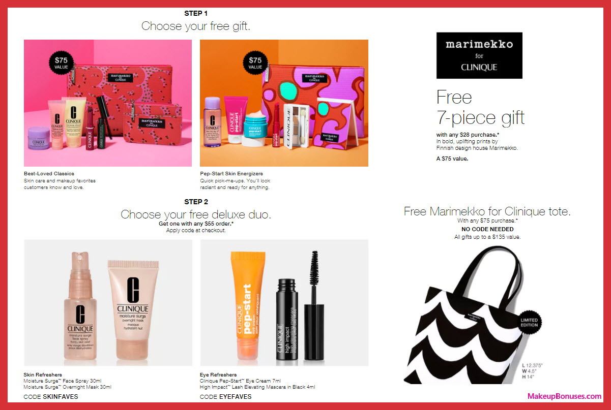 Receive a free 10-pc gift with $75 Clinique purchase