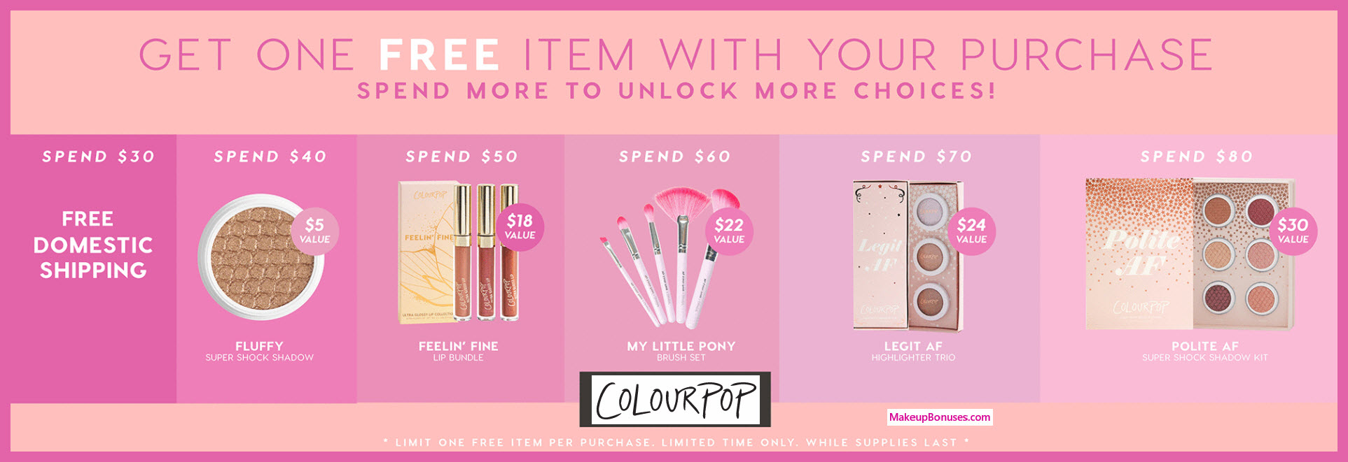 Receive a free 5-pc gift with $60 ColourPop purchase