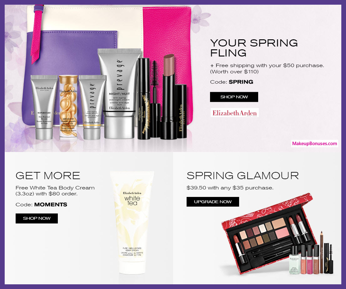 Receive a free 8-pc gift with $80 Elizabeth Arden purchase