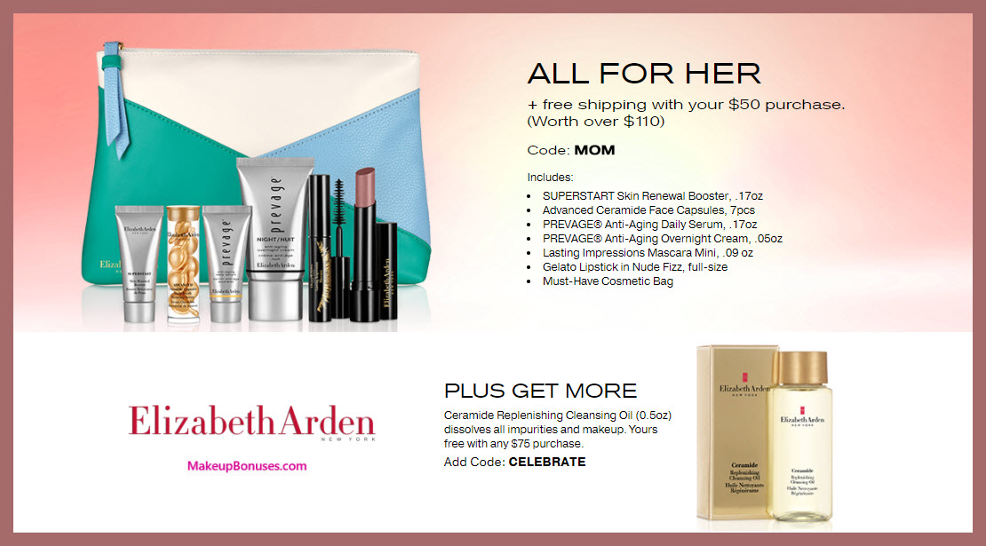 Receive a free 7-pc gift with $50 Elizabeth Arden purchase