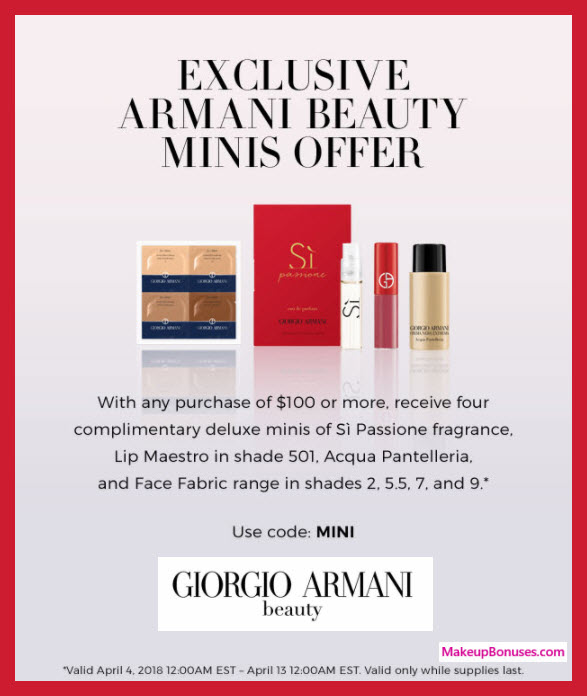 Receive a free 4-pc gift with $100 Giorgio Armani purchase