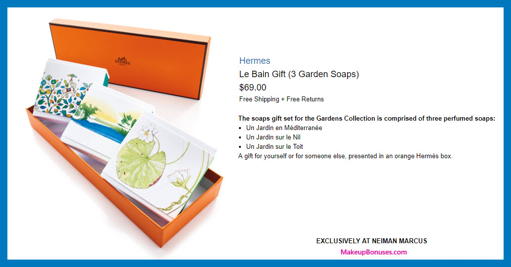 Hermes Le Bain Gift (3 Garden Soaps) - MakeupBonuses.com