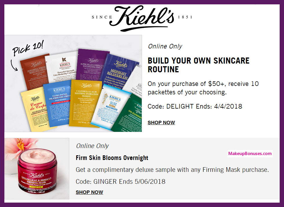 Receive your choice of 10-pc gift with $50 Kiehl's purchase