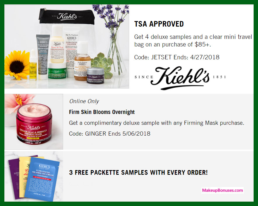 Today's top Kiehl's coupon: Online & In-store! $20 Off Purchases of $65+ Or More. Get 21 Kiehl's coupons and promo codes for