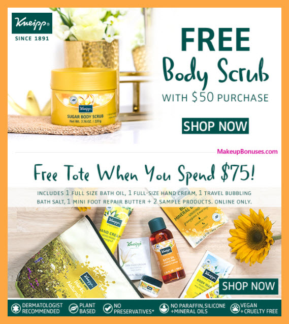 Receive a free 7-pc gift with $75 Kneipp purchase