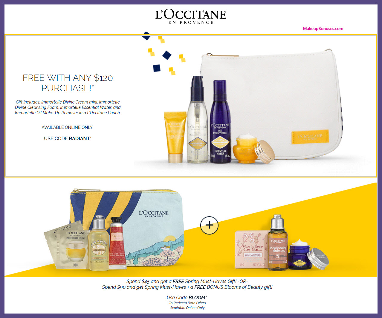 Receive a free 4-pc gift with $45 L'Occitane purchase