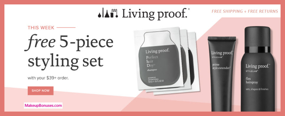 Receive a free 5-pc gift with $39 Living Proof purchase