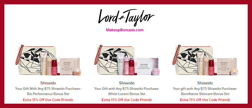 Receive your choice of 7-pc gift with $75 Shiseido purchase