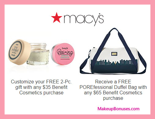 Receive a free 3-pc gift with $65 Benefit Cosmetics purchase