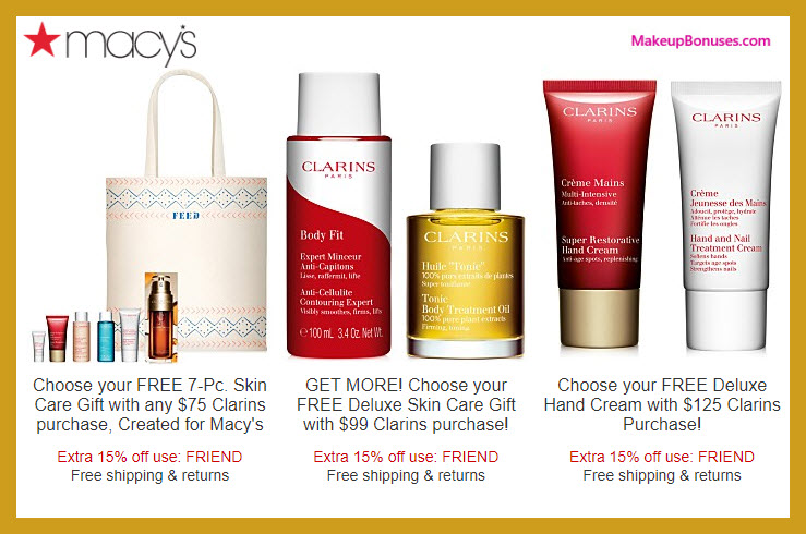 Receive your choice of 9-pc gift with $125 Clarins purchase