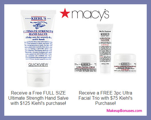 Receive a free 4-pc gift with $125 Kiehl's purchase