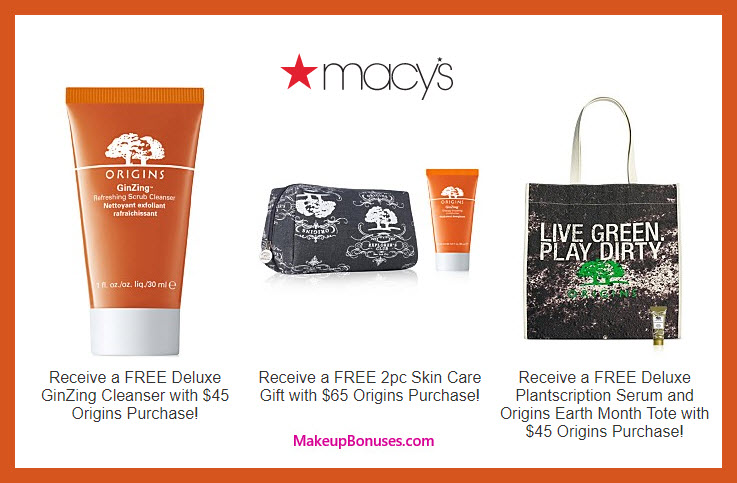 Receive a free 5-pc gift with $65 Origins purchase