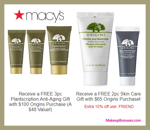 Receive a free 5-pc gift with $100 Origins purchase