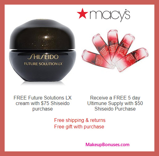 Receive a free 6-pc gift with $75 Shiseido purchase