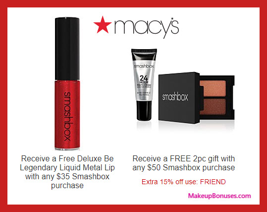 Receive a free 3-pc gift with $50 Smashbox purchase